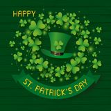 St Patricks day design of hat and clover leaves on wood royalty free illustration