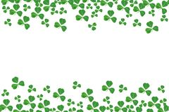 St Patricks Day double border of shamrocks over white Royalty Free Stock Image