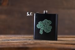 St. patricks day drinking flask. St. patricks day flask for drinking whiskey Royalty Free Stock Photography