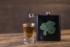 St. patricks day drinking flask. St. patricks day flask for drinking whiskey Stock Photos