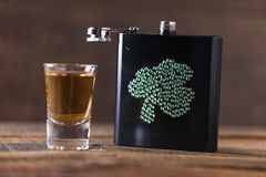 St. patricks day drinking flask. St. patricks day flask for drinking whiskey Royalty Free Stock Image