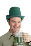 St Patricks Day Excitement. An Irish American man excited about his green beer on St. Patrick's Day.  Isolated on white Royalty Free Stock Photography
