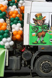 St. Patricks day festival. St. Patricks day -traditional decorated platform on wheels is ready to the beginning of celebratory procession Royalty Free Stock Photos