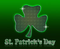 St. Patricks Day. Festive, glittery St. Patricks Day holiday text and large shamrock icon, created in Photoshop on a gradient green background with reflection Royalty Free Stock Photography
