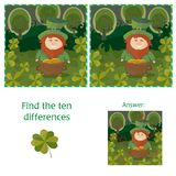 St. Patricks Day - find ten differences visual puzzle. With Answer Stock Image
