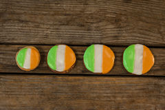 St. Patricks Day four cookies with irish flag toppings Royalty Free Stock Image
