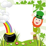St patricks day frame. St patrick´s day frame with elements that represents this holiday: The four-leaf shamrocks, the leprechaun, the rainbow and the pot with Stock Image