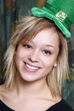 St Patricks Day Girl. An attractive young girl is happily celebrating St Patricks Day Stock Image