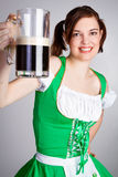 St Patricks Day Girl. Holding beer Royalty Free Stock Photo