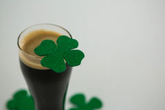 St Patricks Day glass of beer with shamrock Royalty Free Stock Photo