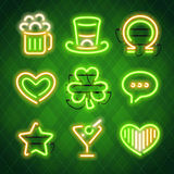 St Patricks Day Glowing Neon Signs Set Stock Photos