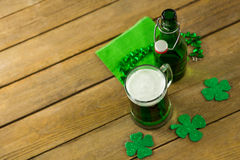 St Patricks Day green beer with shamrock and decoration Royalty Free Stock Photography
