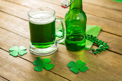 St Patricks Day green beer with shamrock and decoration Stock Image