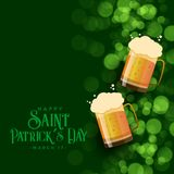 St patricks day green bokeh background with beer mugs. Vector stock illustration