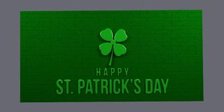 St Patricks Day Green Brick Wall. 3D Render Illustration. St Patricks Day Billboard with Clover and Text Stock Image
