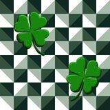 Vector illustration seamless pattern green clovers on geometric background stock illustration