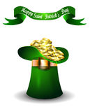 St Patricks day green hat with rainbow Royalty Free Stock Photography