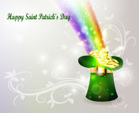 St Patricks day green hat with rainbow Royalty Free Stock Image