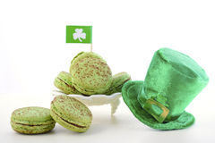 St Patricks Day green macarons. Royalty Free Stock Photography