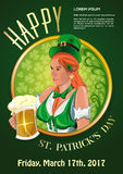 St. Patricks Day 2017. Green party invitation. St. Patricks Day 2017. Invitation to the green party. Beautiful Irish girl with a beer glass in hand. Cute red Stock Photography