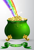 St Patricks day green pot with rainbow Stock Images