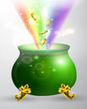 St Patricks day green pot with rainbow Royalty Free Stock Photography
