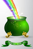 St Patricks day green pot with rainbow Stock Photos