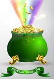 St Patricks day green pot with rainbow Stock Photography