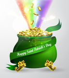 St Patricks day green pot with rainbow Stock Image