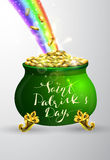 St Patricks day green pot with rainbow Stock Photo