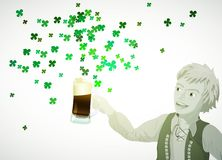 St. Patricks Day green shamrock from beer Stock Photography