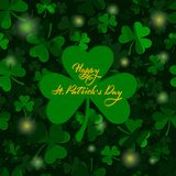 St patricks day greeting card. clover leaves. dark green shamrock background with greeting text. St. Patrick`s Day. Vector vector illustration