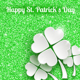 St. Patricks day Greeting Card with 3d White Paper Stock Photography
