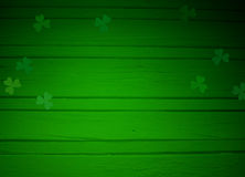 St. Patricks Day Greeting Card, Mock Up Scene With Empty Space, Wooden Background And Clover Leaves Royalty Free Stock Photos