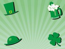 St patricks day greeting celebration background with green glass of beer, hats and shamrock. Flowers - vector illustration with copy space for writing text stock illustration