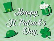 St patricks day greeting celebration with happy St. Patrick's day text and glass of beer, hats and shamrock. St patricks day greeting celebration with stock illustration