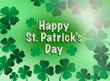 St. patricks day greeting celebration with happy St. Patrick's day text and shamrock flowers illustration. St. patricks day greeting celebration with vector illustration