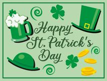 St. patricks day greeting celebration with happy St. Patrick's day text and green glass of beer, hats and shamrock. Flowers - vector illustration royalty free illustration