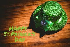 St patricks day greeting. On wooden background Stock Photos