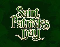 St. Patricks Day greetings golden lettering element on green background royalty free illustration