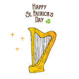 St Patricks Day hand drawn doodle celtic harp, vector illustration isolated on white Stock Image