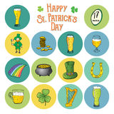 St Patricks Day hand drawn doodle icons set, with leprechaun, pot of gold coins, rainbow, beer, four leaf clover, horseshoe Stock Photos