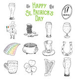 St Patricks Day hand drawn doodle icons set, with leprechaun, pot of gold coins, rainbow, beer, four leaf clover, horseshoe Stock Images