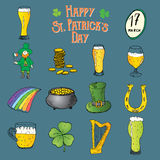 St Patricks Day hand drawn doodle icons set, with leprechaun, pot of gold coins, rainbow, beer, four leef clover, horseshoe, celti Stock Photography