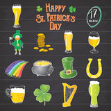 St Patricks Day hand drawn doodle icons set, with leprechaun, pot of gold coins, rainbow, beer, four leef clover, horseshoe, celti Royalty Free Stock Photos