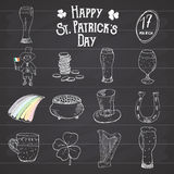 St Patricks Day hand drawn doodle icons set, with leprechaun, pot of gold coins, rainbow, beer, four leef clover, horseshoe Royalty Free Stock Photo