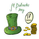 St Patricks Day hand drawn doodle set, with Irish traditional green leprechaun hat and a stack of gold coins, vector illustration Stock Photo