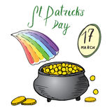 St Patricks Day hand drawn doodle set, with Irish traditional leprechaun`s pot of gold coins at the end of rainbow, vector illustr Royalty Free Stock Photo