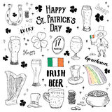St Patricks Day hand drawn doodle set, with leprechaun, pot of gold coins, rainbow, beer, four leaf clover, horseshoe, celtic harp Stock Photography