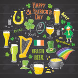 St Patricks Day hand drawn doodle set, with leprechaun, pot of gold coins, rainbow, beer, four leaf clover, horseshoe, celtic harp Stock Photo